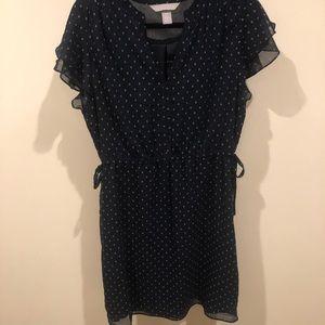 H&M navy spring chiffon dress 12 large